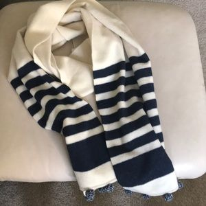 J. Crew navy and cream striped 💯 wool scarf